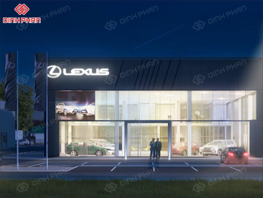 thi công bảng hiệu showroom oto - showroom lexus
