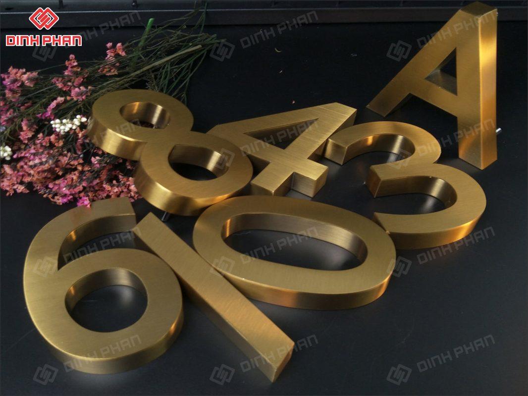 biển số nhà - biển số phòng - chữ inox vàng xước
