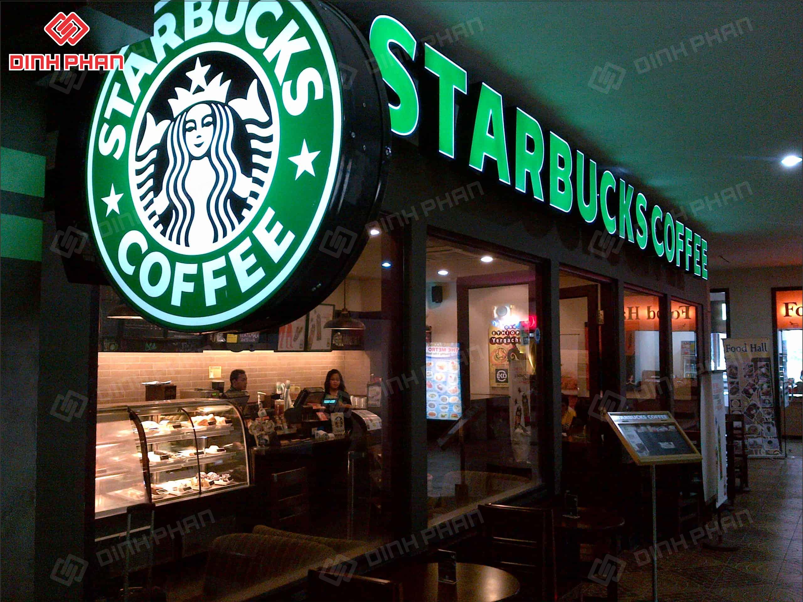 bảng hiệu quán cafe starbucks